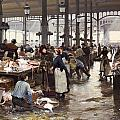 The Fish Hall At The Central Market  by Victor Gabriel Gilbert