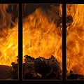 The Home Fires Are Burning Triptych by Kathy Clark