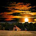 The Late Sam's Rd. Barn In The Moonlight by Randall Branham