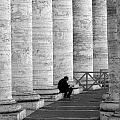 The Reader Amidst The Columns Bw by Mike Nellums