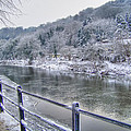 The River Severn In Ironbridge Frozen During Winter II by Sarah Broadmeadow-Thomas