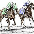 The Stretch - Tb Horse Racing Print Color Tinted by Kelli Swan