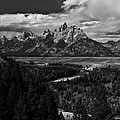 The Tetons - Il Bw by Larry Carr