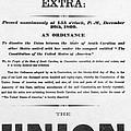 The Union Is Dissolved, 1860 Broadside by Photo Researchers