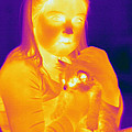 Thermogram Of A Girl And Cat by Ted Kinsman