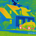Thermogram Of Car In Front Of A House by Ted Kinsman