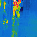 Thermogram Of Students At A Locker by Ted Kinsman