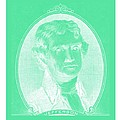 Thomas Jefferson In Negative Green by Rob Hans
