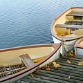 Three Boats Floating On Pond Beside Pier by Les beautés de la nature / Natural Beauties