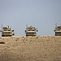 Three M-atvs Guard The Top Of The Wadi by Terry Moore