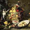 Three Monkeys Stealing Fruit by Frans Snyders