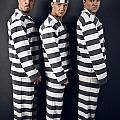 Three Prisoners. Group Of Men In Suits Of Convicts. by Kireev Art