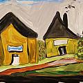 Three Yellow Houses With Picture Windows by Mary Carol Williams