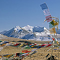 Tibetan Buddhist Prayer Flags Atop Pass by Gordon Wiltsie