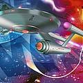 Time Travelling Spacecraft, Artwork by Detlev Van Ravenswaay