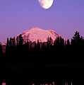 Tipsoo Lake And Full Moon At Mount Ranier National Park In Washington by Steve Satushek