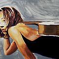 Tonya With Guitar On Back by Clayton Singleton