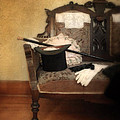 Top Hat And Cane On Sofa by Jill Battaglia