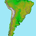 Topographic View Of South America by Stocktrek Images