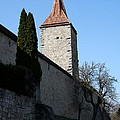 Town Wall And Tower - Rothenburg by Christiane Schulze Art And Photography