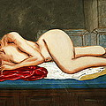 Traditional Modern Female Nude Reclining Odalisque After Ingres by G Linsenmayer
