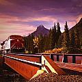 Train Going Over A Bridge Banff by Darren Greenwood