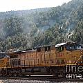 Train In Spanish Fork Canyon by Pamela Walrath