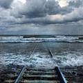Train Tracks Into The Sea by Jill Battaglia