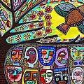 Tree Of Life People Blue Bird by Sandra Silberzweig