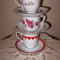 Trio Of Valentine Tea Cups  by Nancy Patterson
