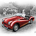 Triumph Tr-2 Sports Car In Red by David Kyte