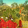 Tropical Jungle By Henri Rousseau by Pg Reproductions