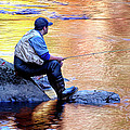 Trout Fisherman In Autumn by Dave Mills