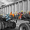 Truck And Dolls With Selective Coloring by Kathleen K Parker