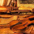 Trumpet And Stradivarius At Rest - Violin - Nostalgia - Vintage - Music -instruments  by Lee Dos Santos