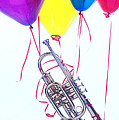 Trumpet Lifted By Balloons by Garry Gay