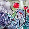 Tulips And Hydrangea by Margaret Ann Johnson Wilmot