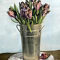 Tulips In Metal Vase by Jill Battaglia
