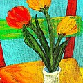 Tulips On A Chair by Mary ann Barker