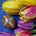 Tulips With Easter Egg by Garry Gay