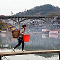 Tuojiang River In Fenghuang by Valentino Visentini
