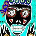 Turquoise Queen Sugar Skull Angel by Sandra Silberzweig