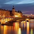 Twilight Over River Seine And Conciergerie by Brian Jannsen