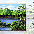 Twin Ponds And 23 Psalm On White by Barbara Griffin
