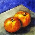 Two Apples With Blue by Michelle Calkins