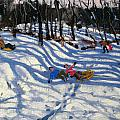 Two Boys Falling Off A Sledge by Andrew Macara