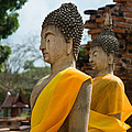 Two Buddha Statues Wrapped In An Orange Scarf  by U Schade