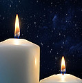Two Candles With Star Of Bethlehem  by Michael Gray