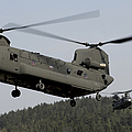 Two Ch-47 Chinook Helicopters In Flight by Stocktrek Images