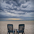 Two Deck Chairs At Sunrise On The Beach by Randall Nyhof